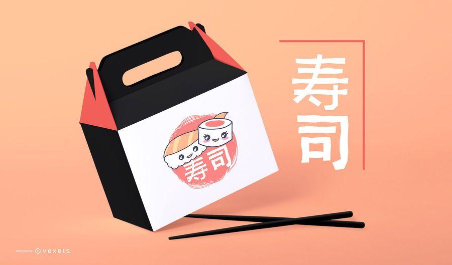 Maquete de embalagens de sushi