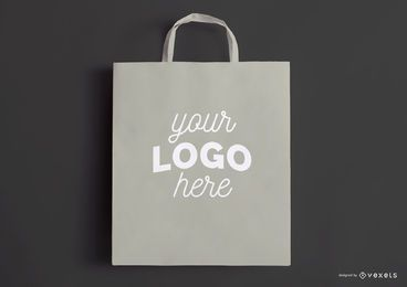 Maquete de saco de compras cinza