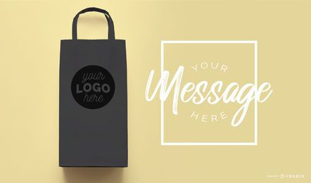 Shopping bag black mockup template