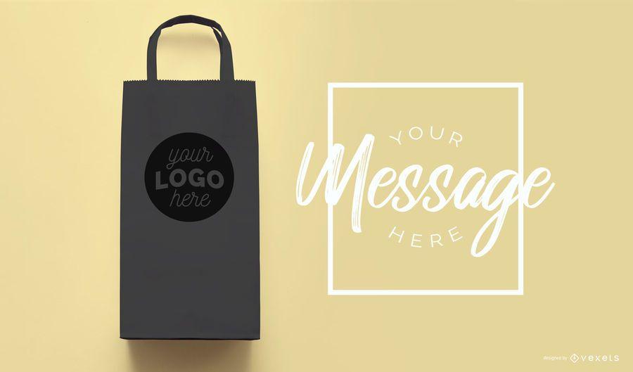 Shopping bag black mockup template