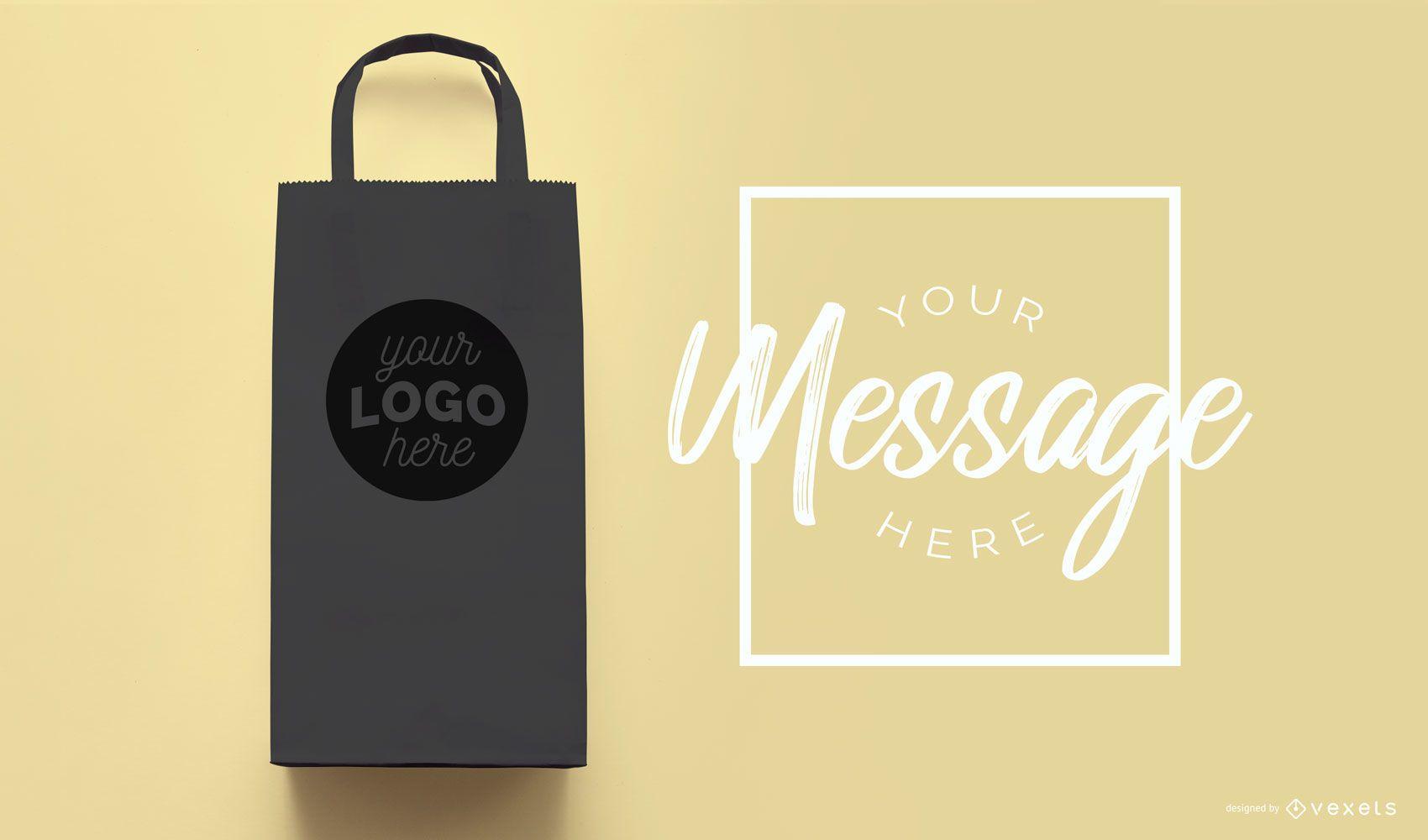 Shopping bag black mockup
