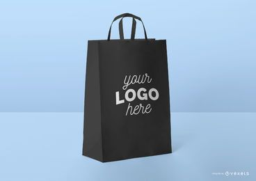 Black shopping bag mockup template