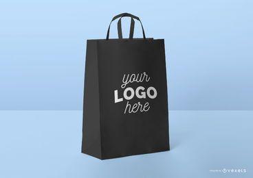 Black shopping bag mockup template