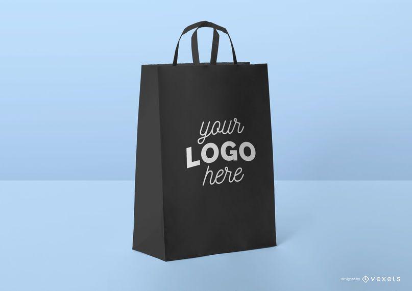 Black shopping bag mockup