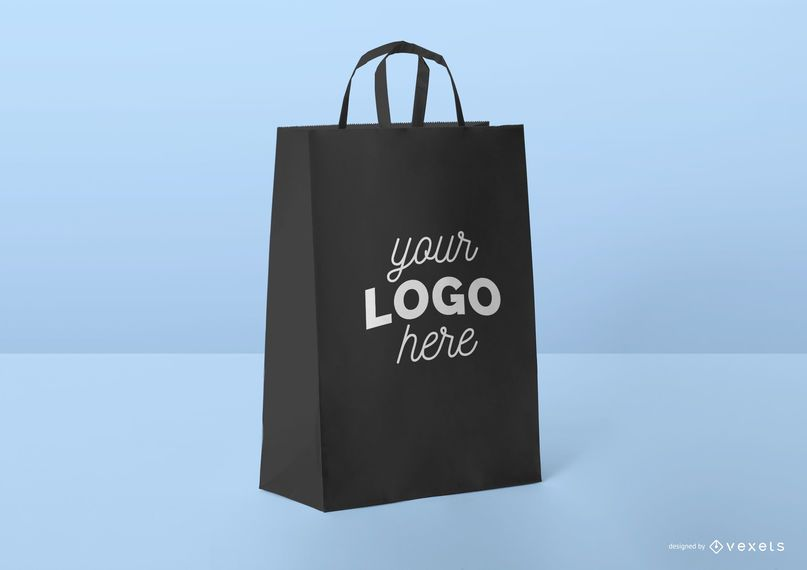 Modelo de maquete de sacola de compras preto