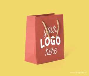 Shopping bag purple mockup template