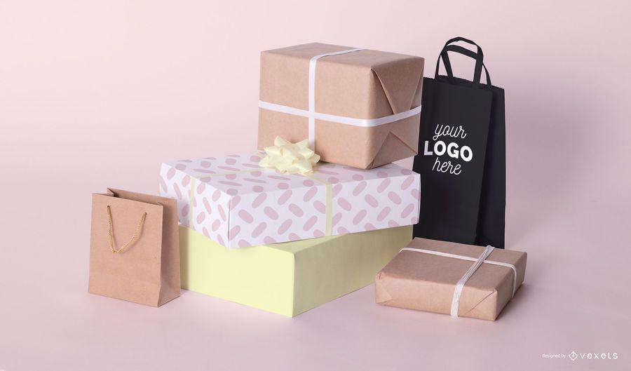 Composição de maquete de presentes de compras