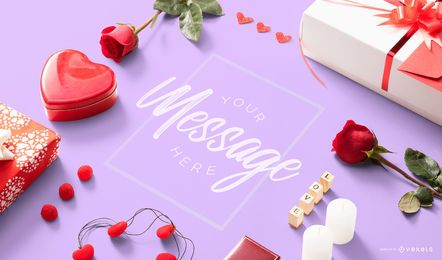 Valentines mockup composition