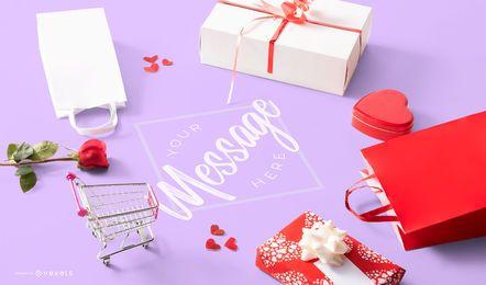 Composición de maquetas de San Valentín