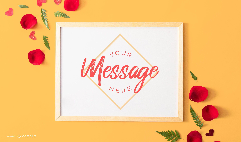 Maquete de mensagem do quadro de namorados