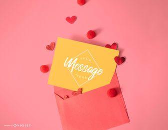 Valentinstag Karte Mockup Vorlage