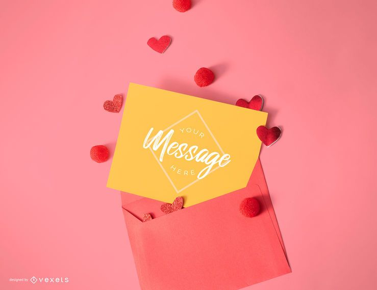 Valentine's day card mockup template