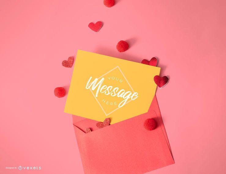 Valentine's day card mockup