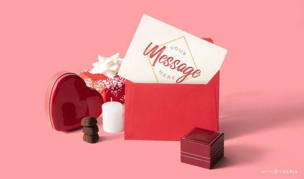 Composición de maqueta de tarjeta de san valentín
