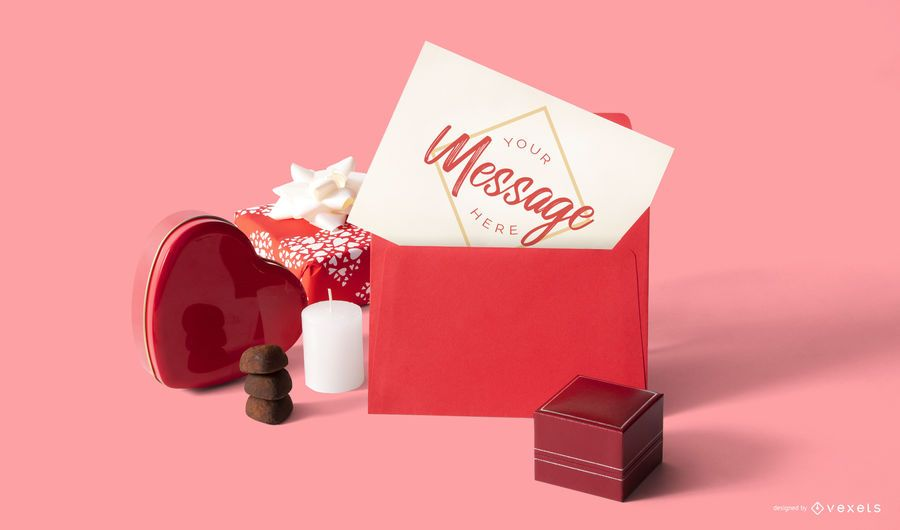 Valentine's day card mockup composition