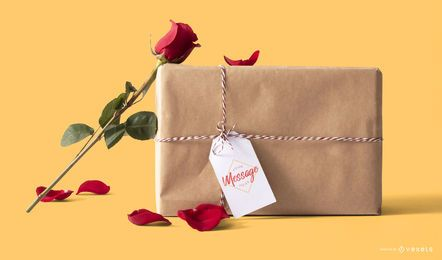 Maqueta de caja de regalo de san valentín