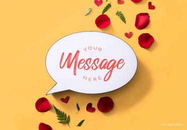 Maquete de mensagem de dia dos namorados bolha