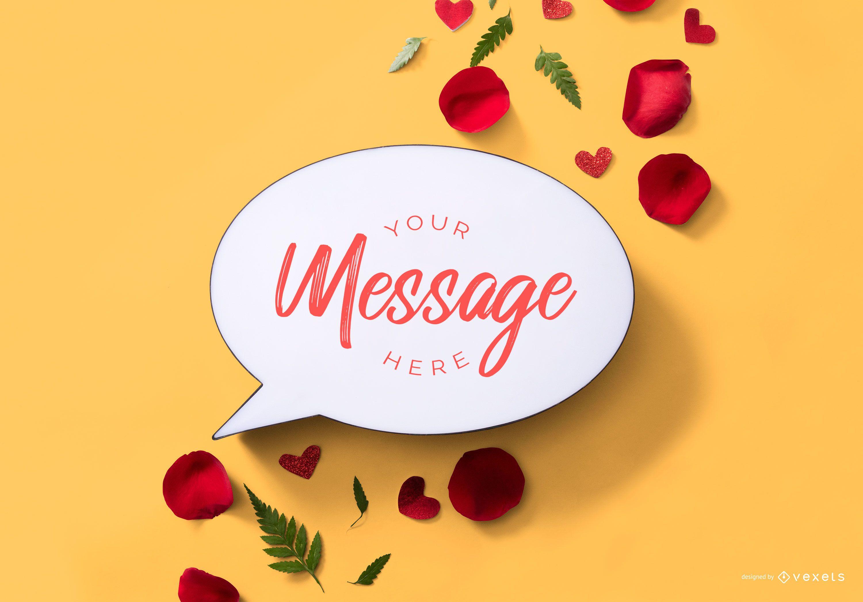 Maqueta de mensaje de burbuja de San Valentín