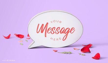 Maquete de bolha de mensagem de dia dos namorados