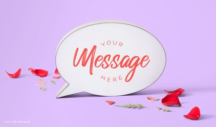 Valentines message bubble mockup