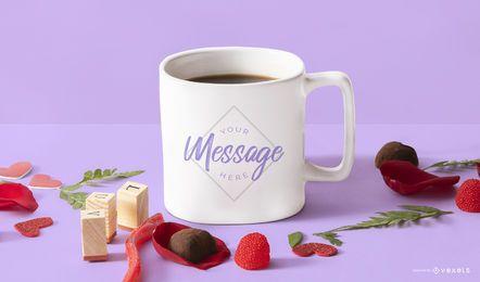 Valentines mug mockup composition