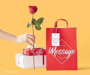 Composición de maqueta de regalos de San Valentín