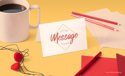 Valentines stationery mockup composition