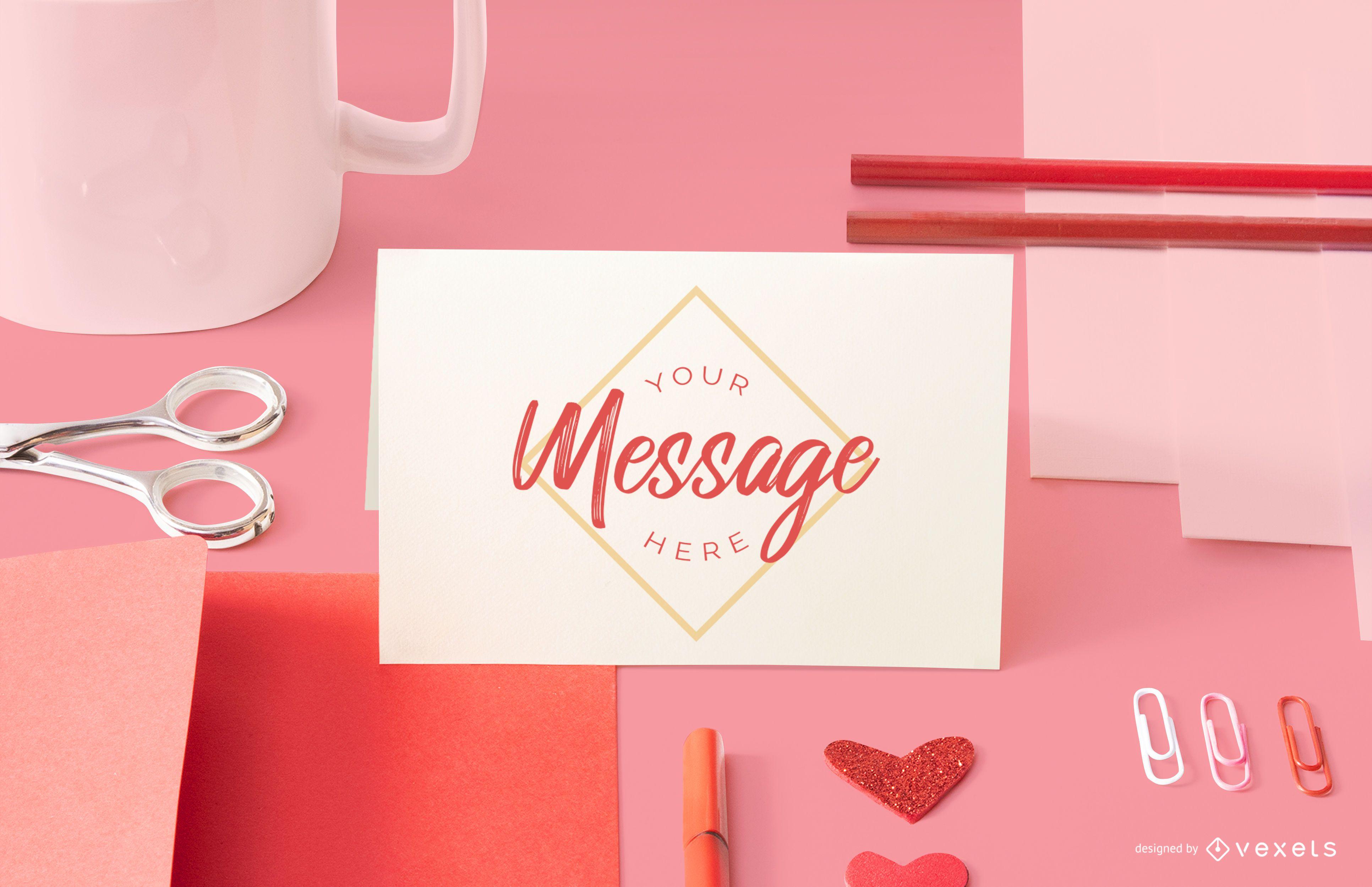 Valentines card mockup composition