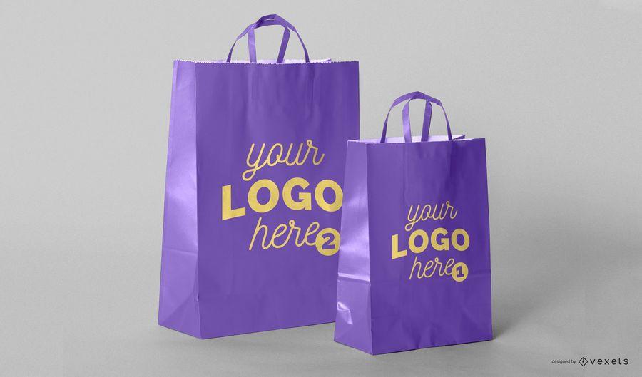 Design de maquete de sacolas de compras
