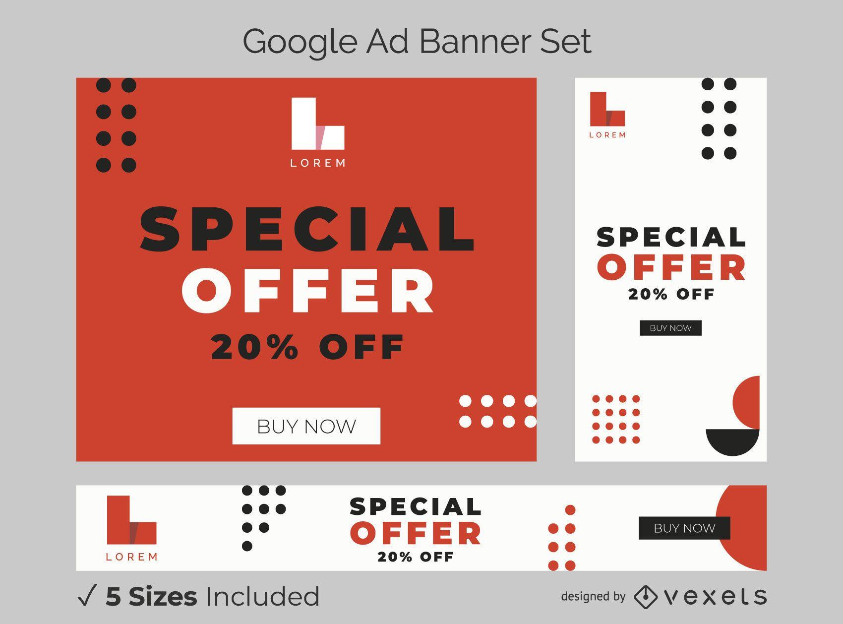 Bold typography ad banner set