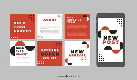 Tipografía audaz publicaciones en redes sociales