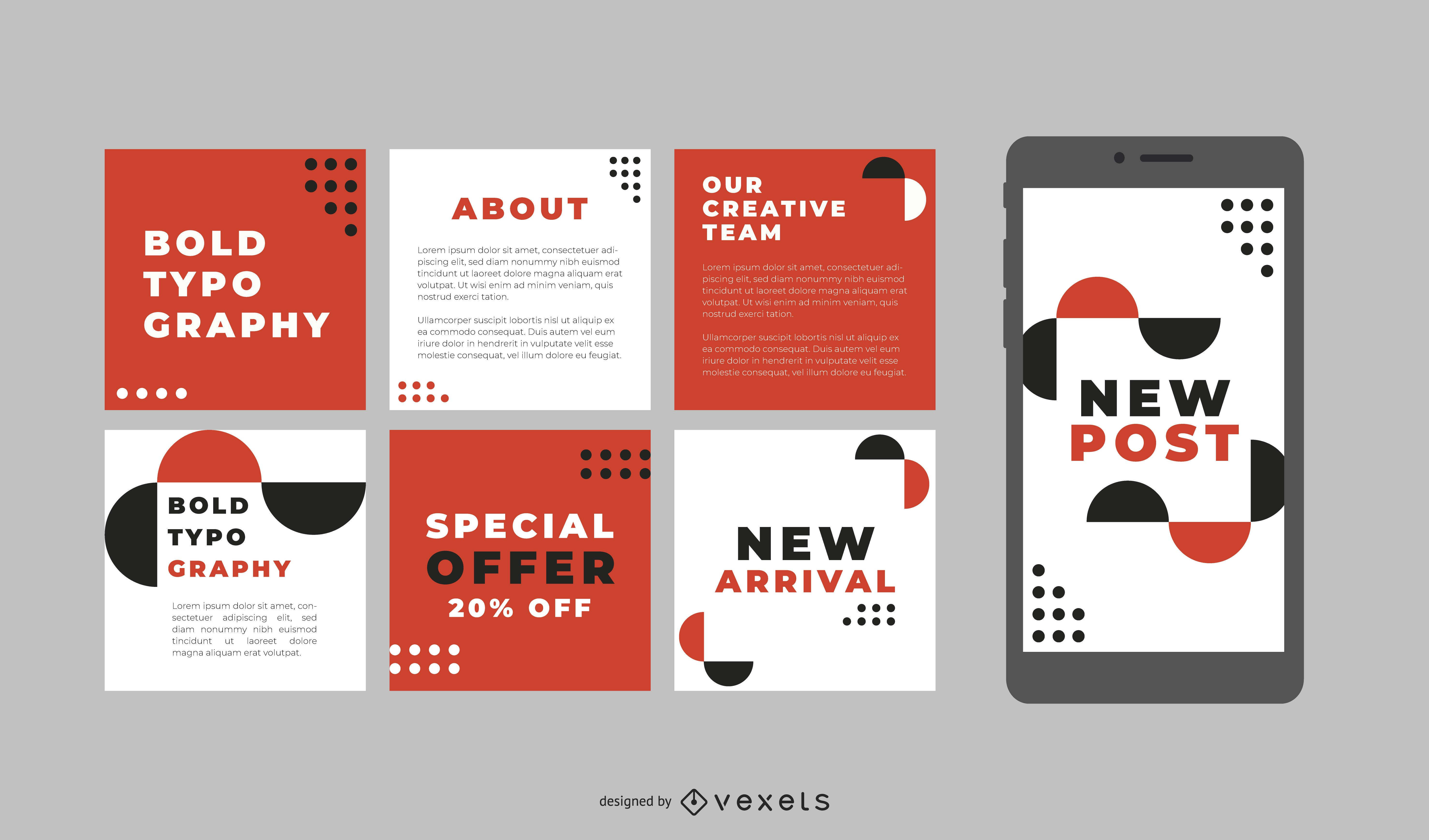 Publicaciones en redes sociales con tipografía atrevida