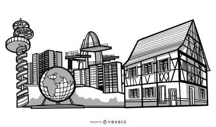Projeto de edifícios da cidade alemã
