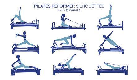 Pacote de silhueta de exercícios de Pilates