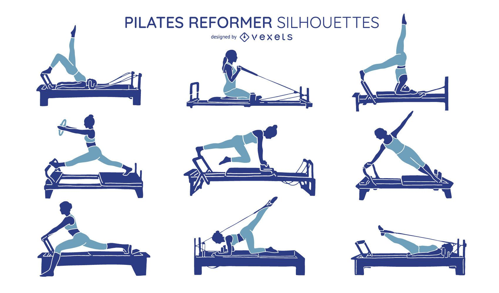 Paquete de silueta de ejercicios de Pilates