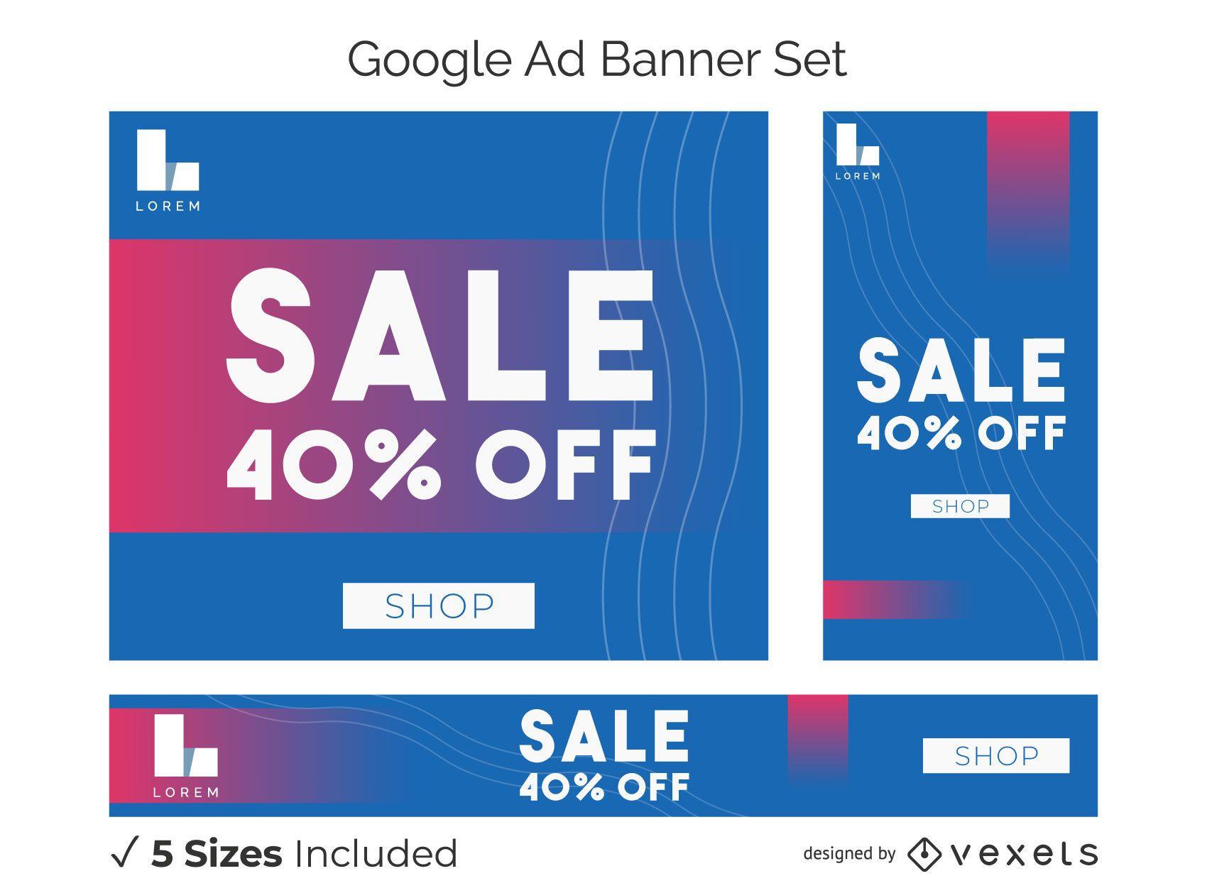 Conjunto de banner de anúncio em negrito de venda