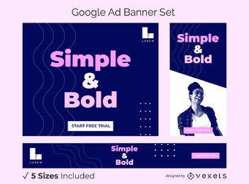Conjunto de banner de anúncio simples e ousado