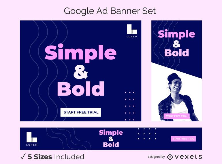 Simple and bold ad banner set