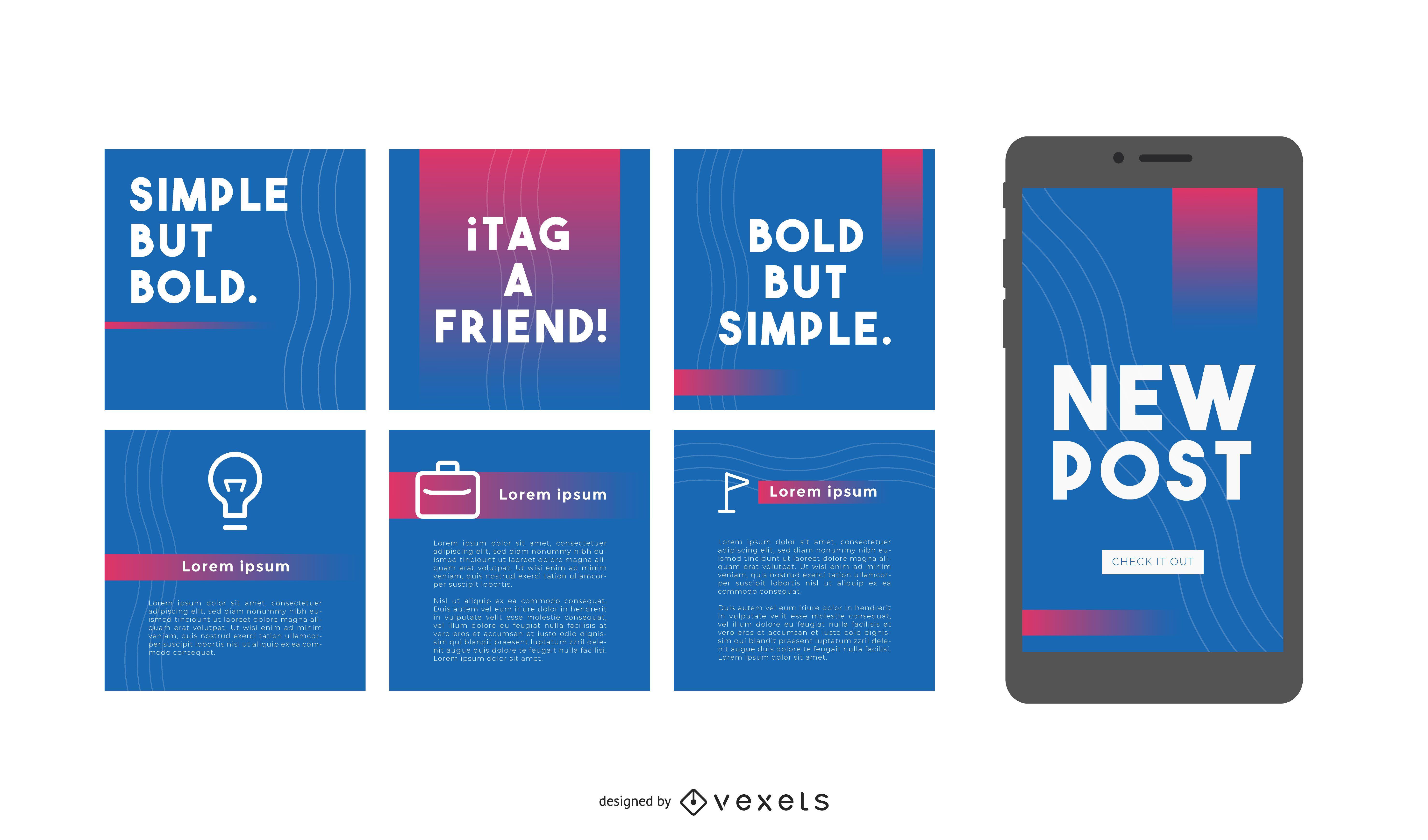 Publicaciones en redes sociales simples pero audaces