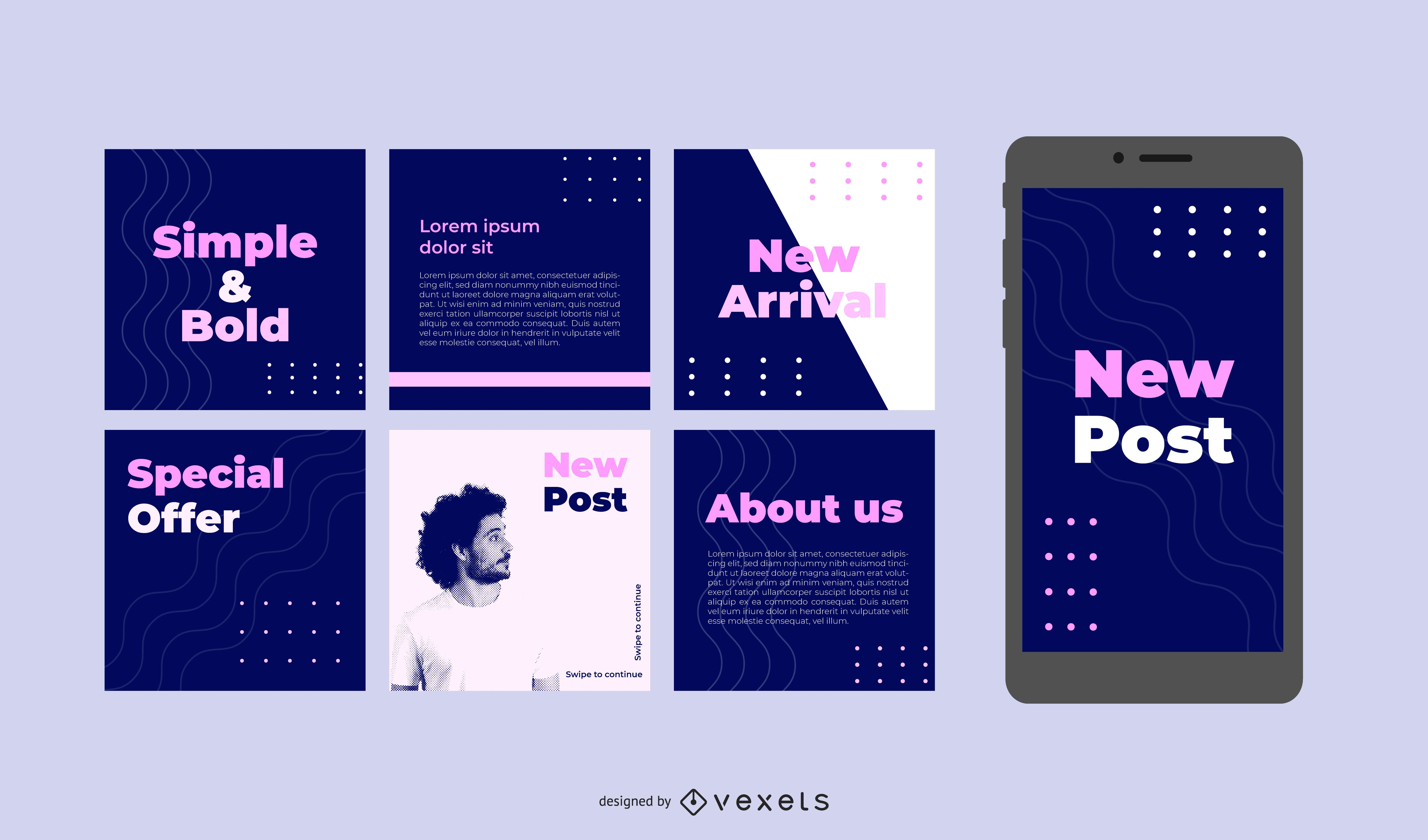 Publicaciones en redes sociales simples y audaces