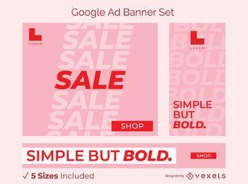 Conjunto de banner de anúncio em negrito simples