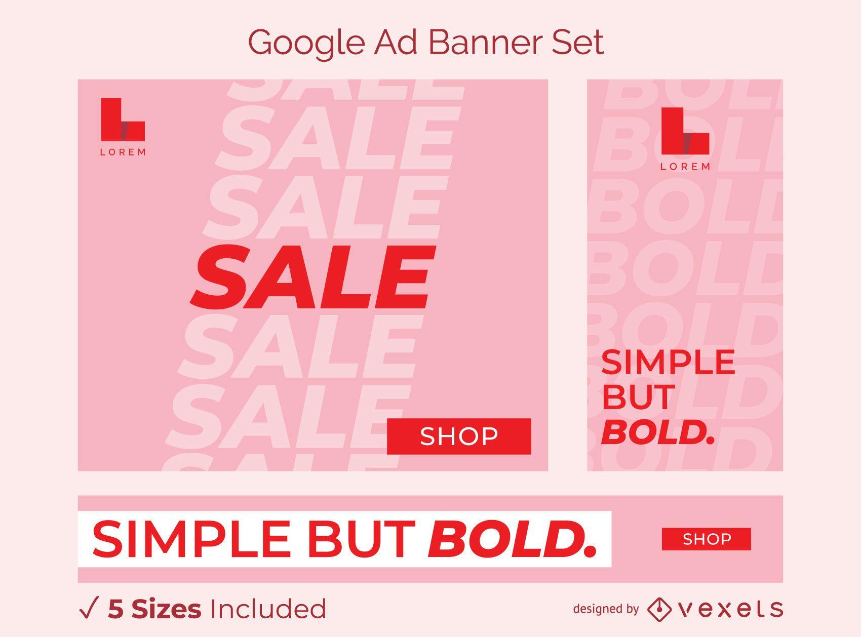 Conjunto de banner publicitario en negrita simple