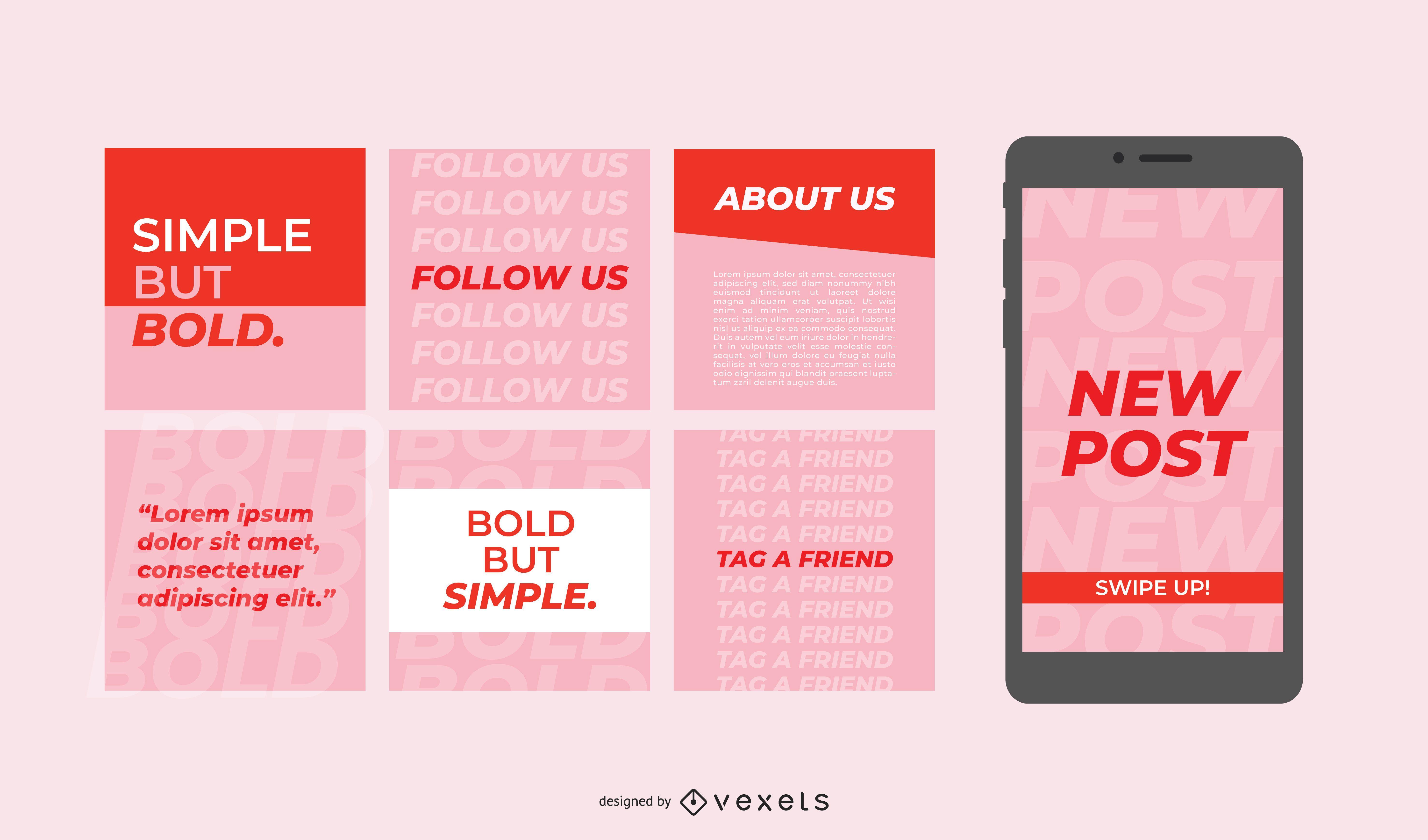 Publicaciones simples en redes sociales en negrita