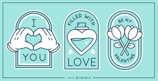 Set de insignias de San Valentín
