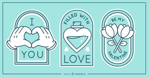 Valentine's day badge set