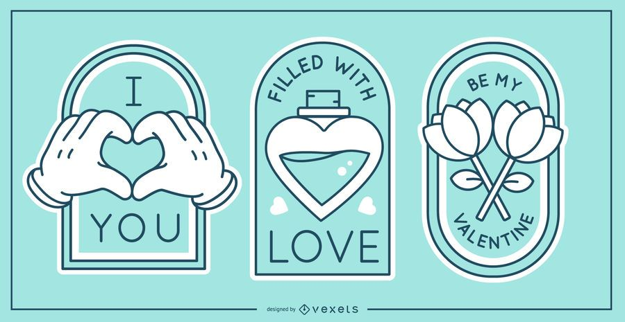 Valentine's day badge set