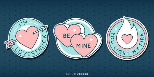 Lindo conjunto de insignias de San Valentín