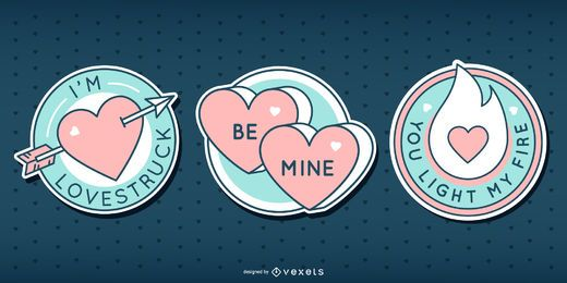 Valentines cute badge set