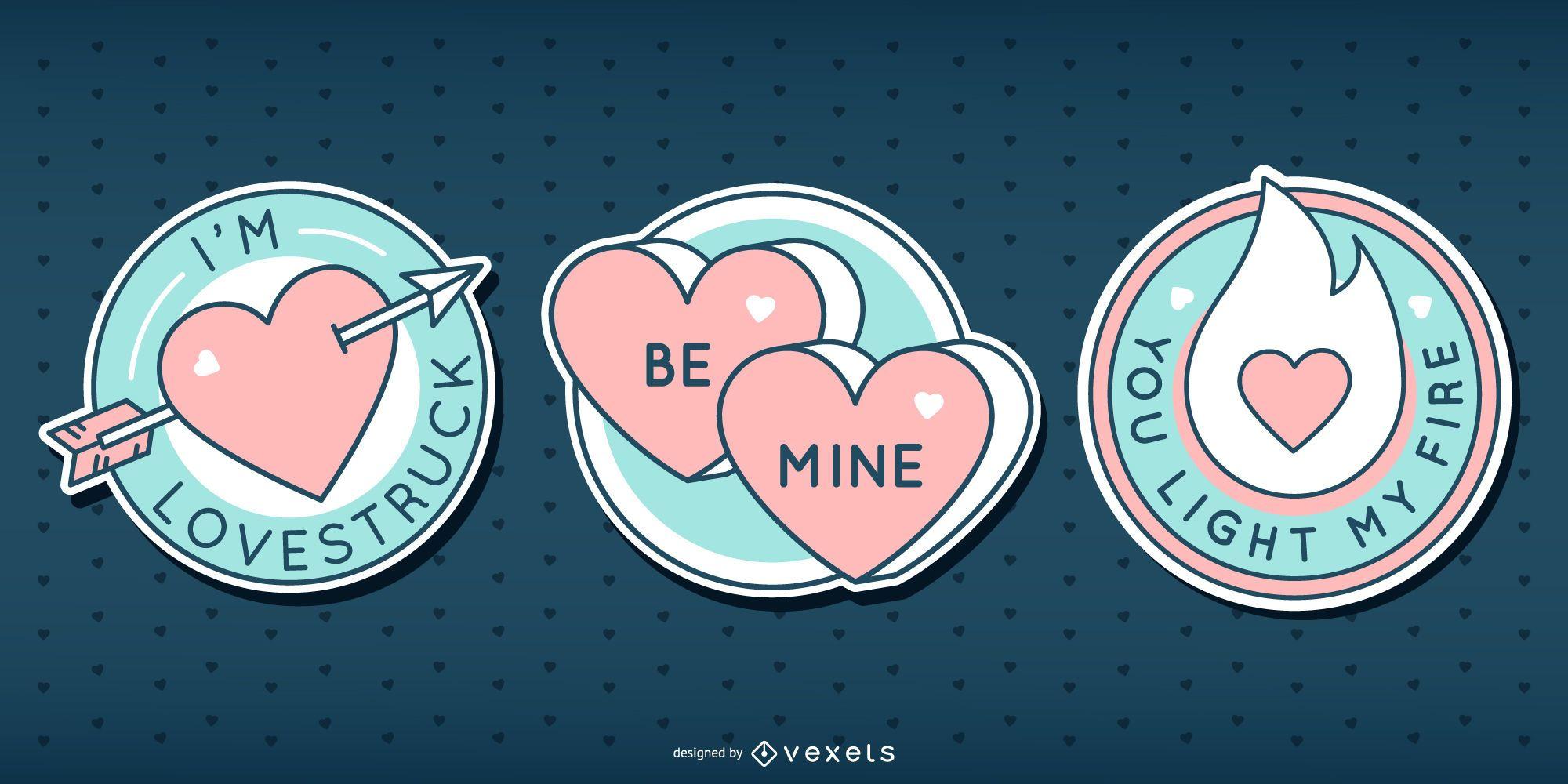 Valentines cute badge set