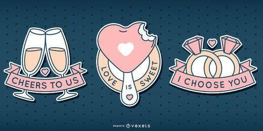 Conjunto de distintivo fofo de dia dos namorados